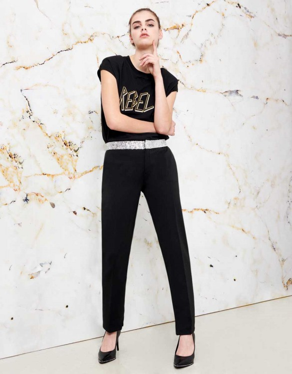 Cigarette Trousers Lizzy shine - BLACK