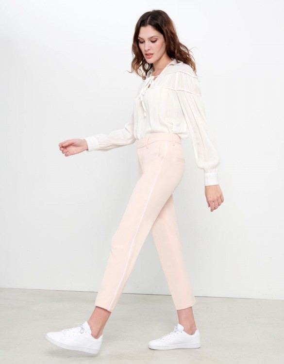 Pantalon Cigarette Lizzy Color - ROSE PIPING NUDE