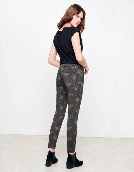Chino Sandy Skinny Printed - BROWN FEATHER