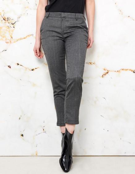 Pantalon cigarette Lizzy Fancy - GREY SILVER STRIPES
