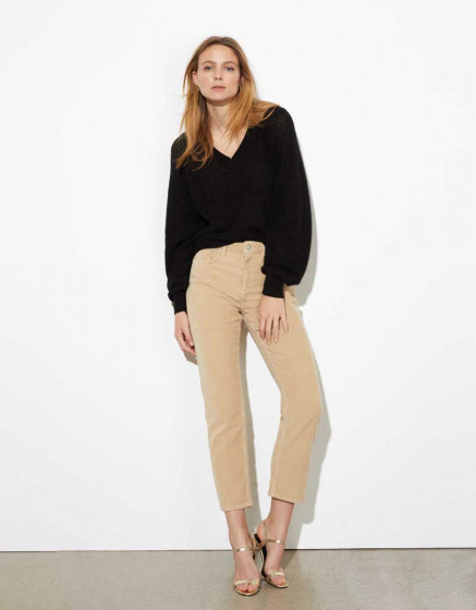 Trousers highwaist cropped Milo Velve - BEIGE