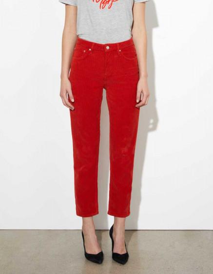 Pantalon highwaist cropped Milo Velvet - TERRACOTTA