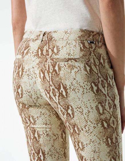 Pantalon chino Sandy Cropped Printed - CAMEL SNAKE