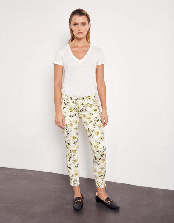 Chino trousers Sandy Cropped Printed - YELLOW DAISY