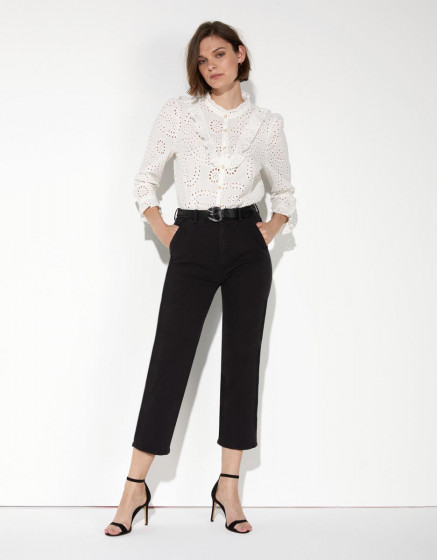 Pantalon chino Sandy Highwaist Cropped - BLACK