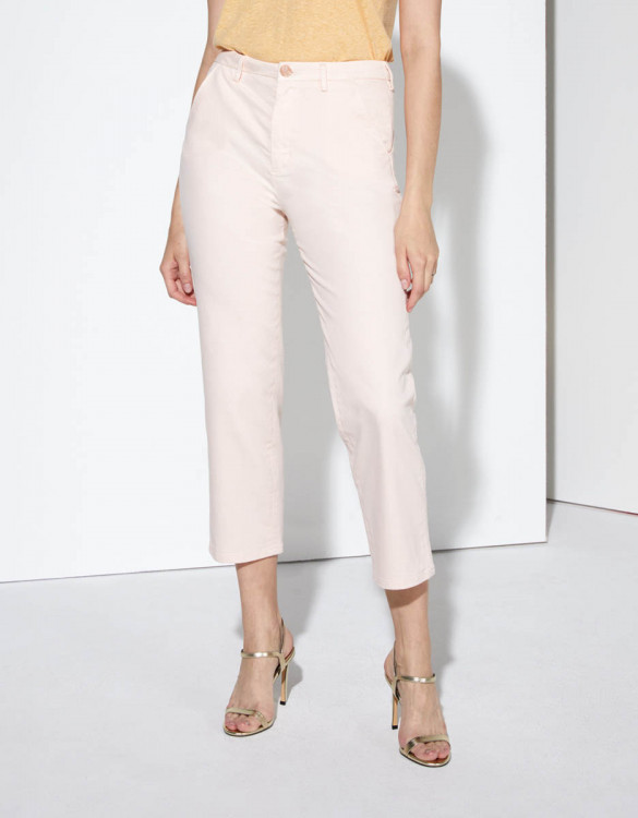 Pantalon chino Sandy high waist cropped - BABY PINK