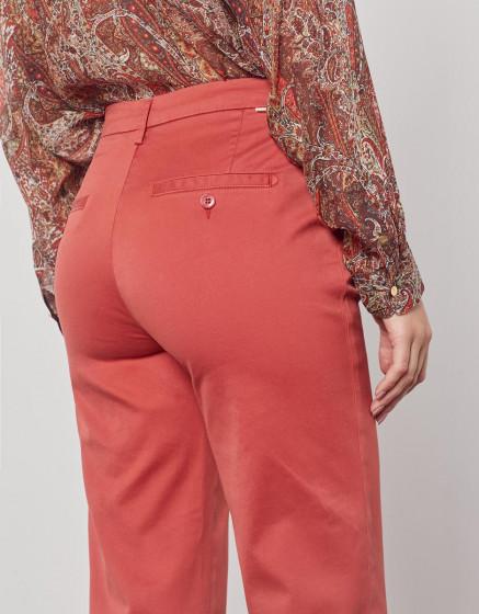 Chino high waist cropped trousers Sandy High Waist - MARSALA