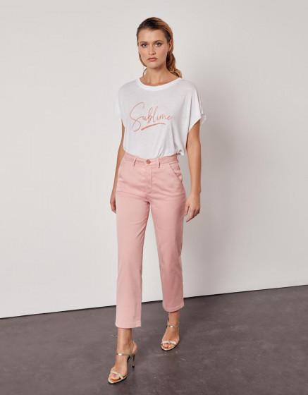 Chino high waist cropped trousers Sandy High Waist - WILD ROSE