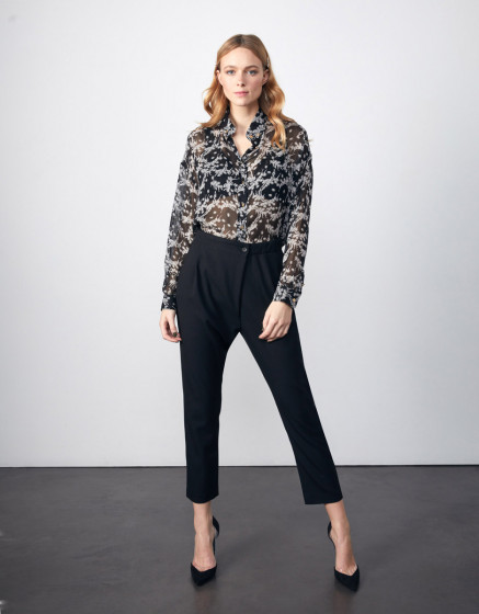 Cigarette trousers Luna Color - BLACK