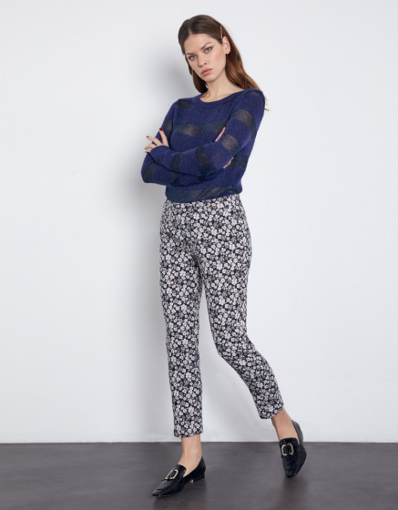 Cigarette trousers Liv Fancy - NAVY BLOSSOM