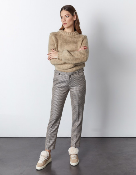 Cigarette trousers Liv Fancy - SAND HOUNDSTOOTH