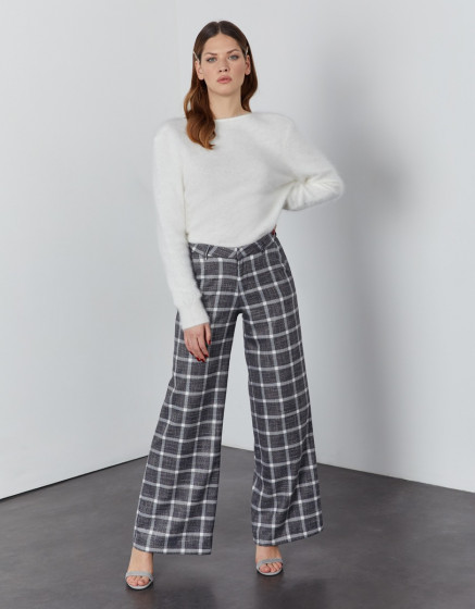 Pantalon wide Pamelo - SILVER CHECKS