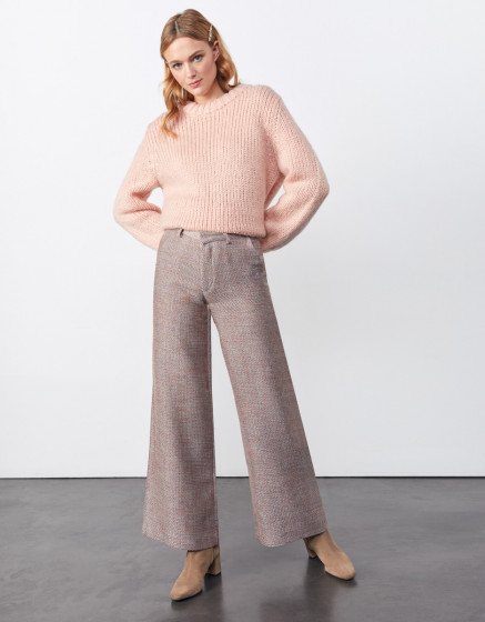 Pantalon wide Pamelo Fancy - PINK TWEEDY