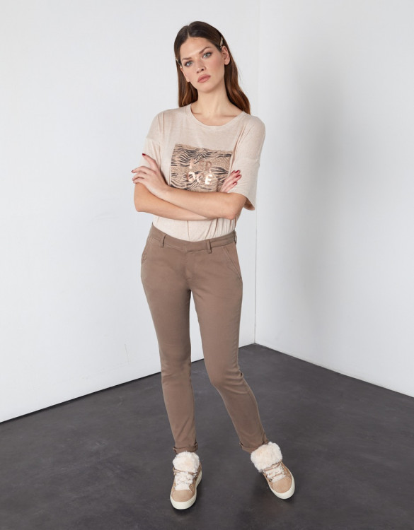 Chino trousers Sandy 2 Basic - DARK TAUPE