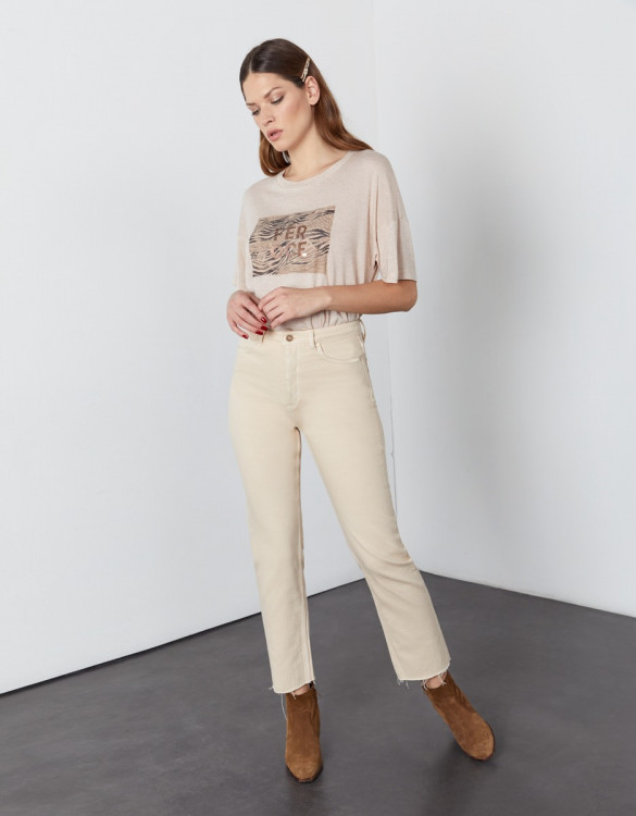High waist cropped jean Milo Color - DESERT SAND
