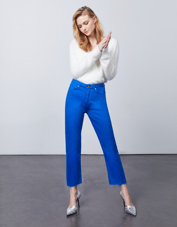 High waist cropped jean Milo Color - COBALT BLUE