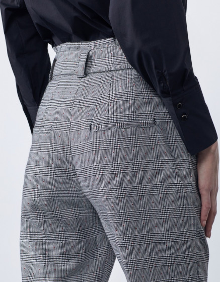 High waist cigarette cropped trousers Ava Fancy - DOTED HOUNDSTOOTH