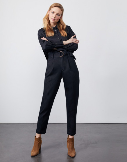 High waist cigarette cropped trousers Ava - DNM BLACK