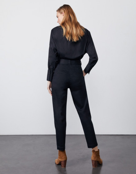 Pantalon cigarette taille haute cropped Ava - DNM BLACK