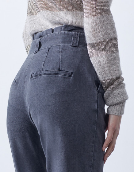 High waist cigarette cropped trousers Ava - DNM GREY