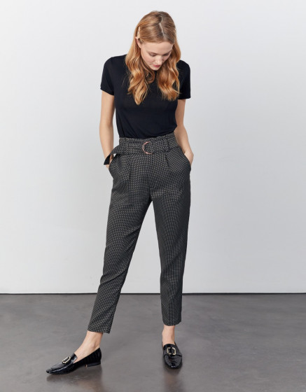 High waist  trousers Ava Fancy - BLACK DIAMOND