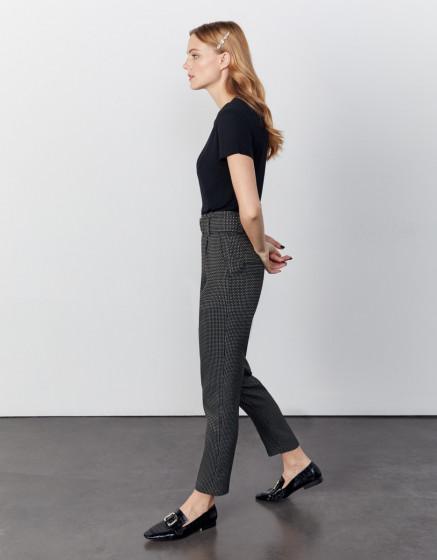Pantalon cigarette taille haute cropped Ava Fancy - BLACK DIAMOND