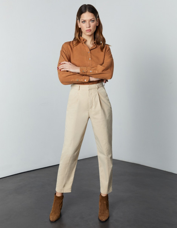 Chino high waist cropped Ambre - LIGHT SAND
