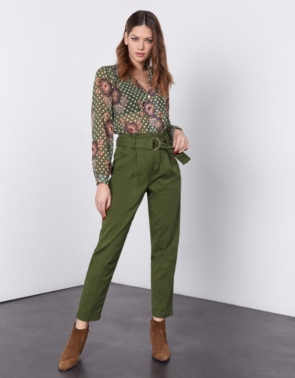 High waist cigarette cropped trousers Ava - KALE