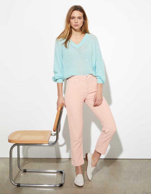 High waist trousers Milo Velvet - BABY PINK