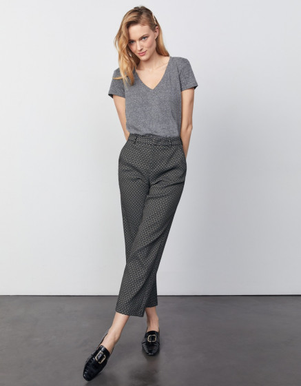 Cigarette straight cropped trousers Lary - BLACK DAISY