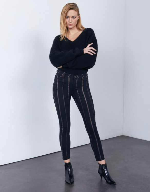 Pantalon skinny cropped Lily Stripes - DNM BLACK
