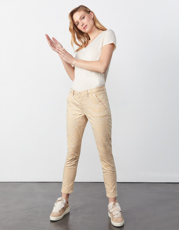 Chino trousers Sandy Cropped Print - SAND ZEBRA