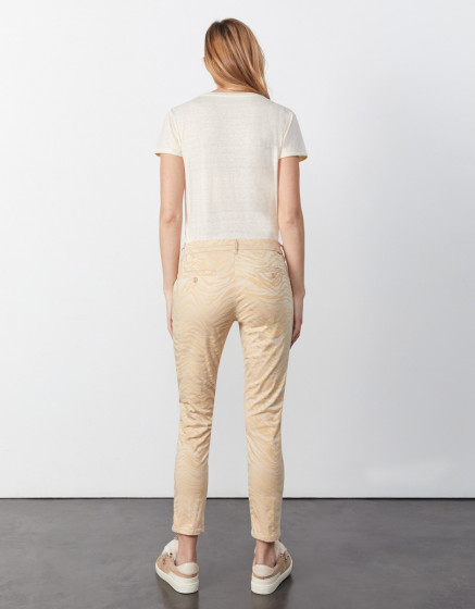 Pantalon chino Sandy Cropped Printed - SAND ZEBRA