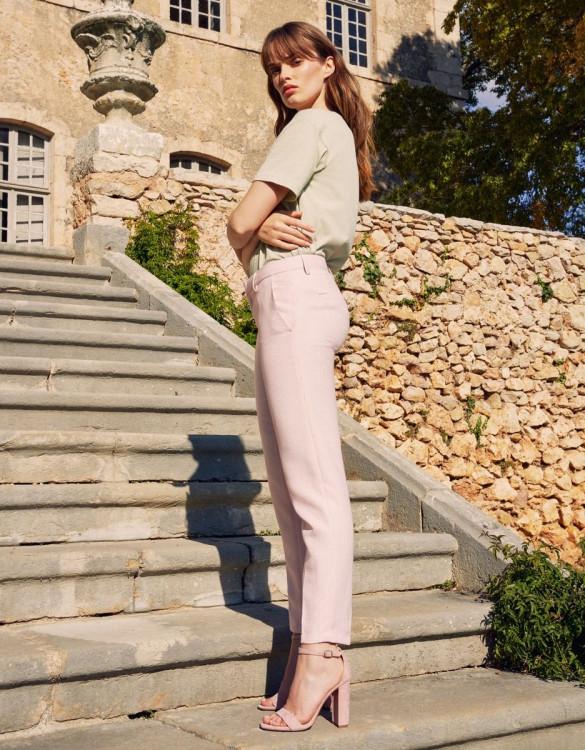 Cigarette trousers Liv Fancy - BABY PINK TILES