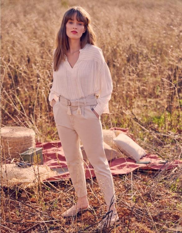 High waist cigarette trousers Ava Color - LIGHT SAND