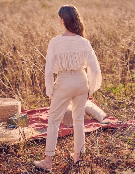 Pantalon cigarette taille haute Ava Color - LIGHT SAND