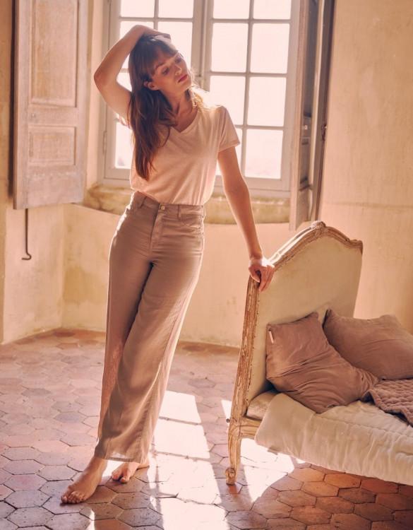 Wide trousers Ellie Linen - STONE
