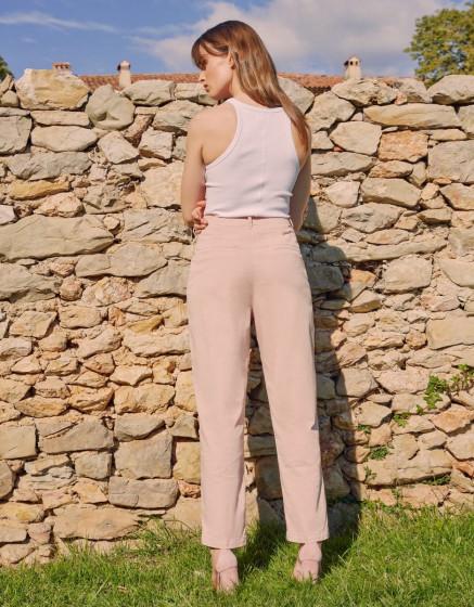 High waist chino Ambre - ROSE SMOKE
