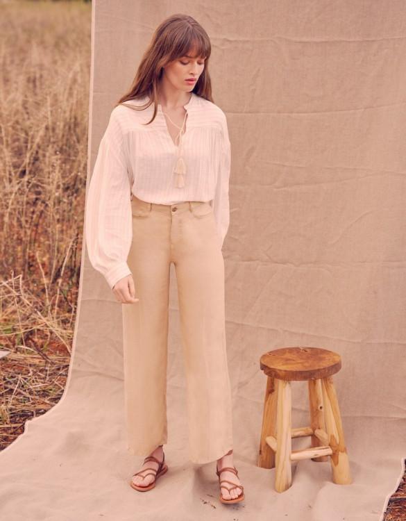 Wide trousers Ellie Linen - LIGHT SAND