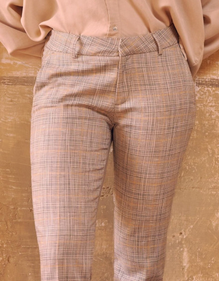 Pantalon cigarette Liv fancy - GOLDEN TARTAN