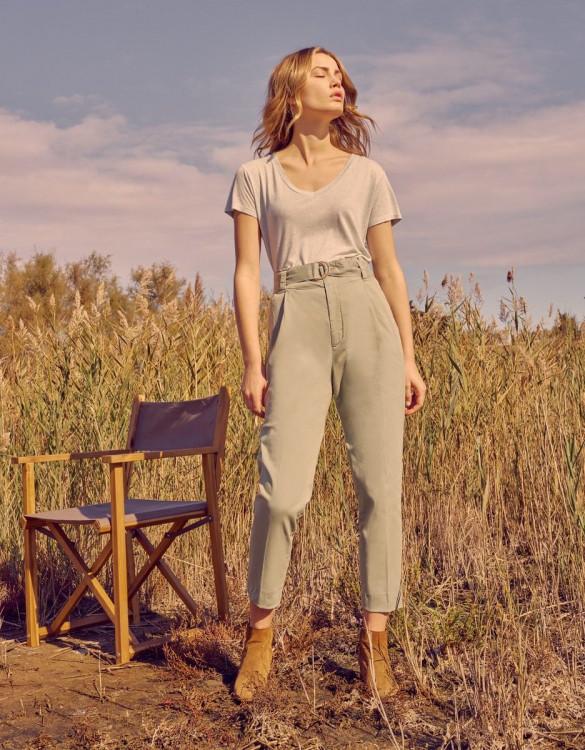 High waist cigarette trousers Ava Color - BASIL