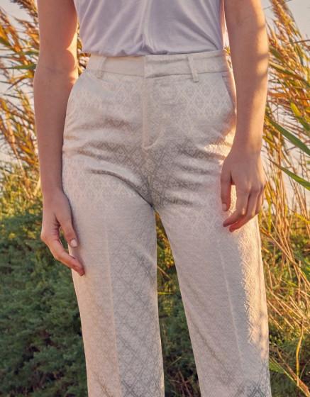 Pantalon cigarette straight Lary Fancy - OFF-WHITE DAISY