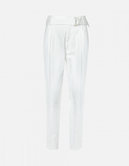 Pantalon cigarette taille haute Ava Color - WHITE