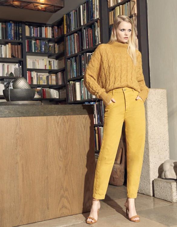 Pantalon taille haute Nicola Color - HARVEST GOLD