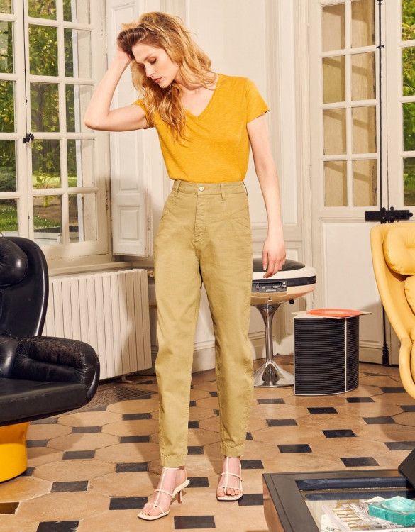 High waist trousers Nicola Color - MILITARY OLIVE