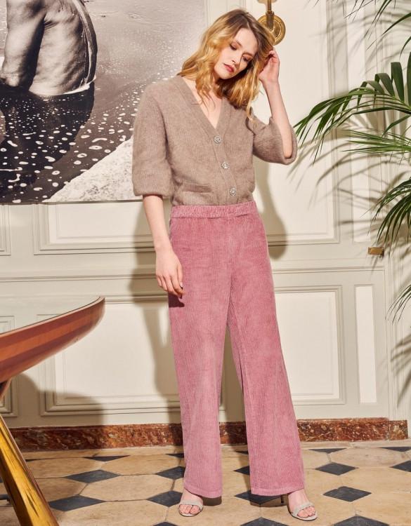 Wide trousers Felicity Velvet - PURPLE GREY