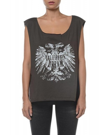 Printed tank top Trust - CARBONE